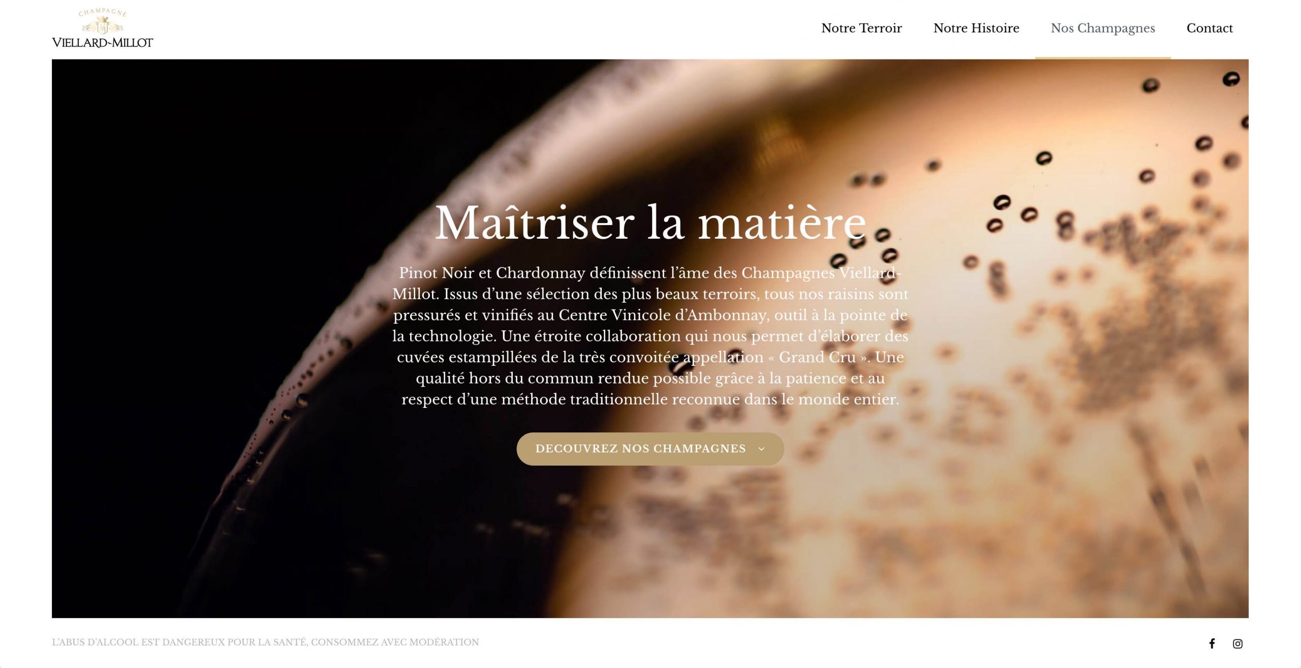 Site Internet du Champagne Viellard-Millot - Agence Discovery
