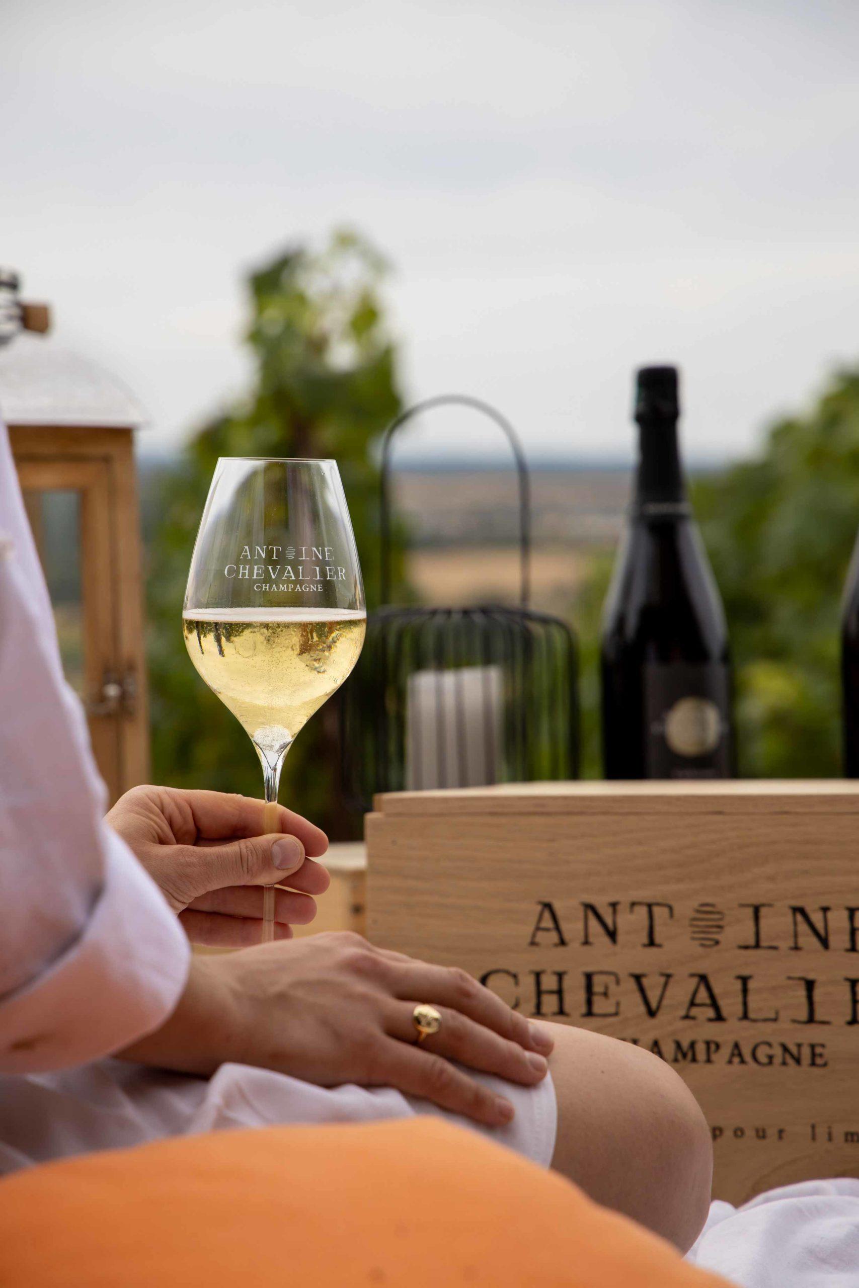 Aurore dans les vignes lors du reportage photo pour le Champagne Antoine Chevalier - Agence Discovery
