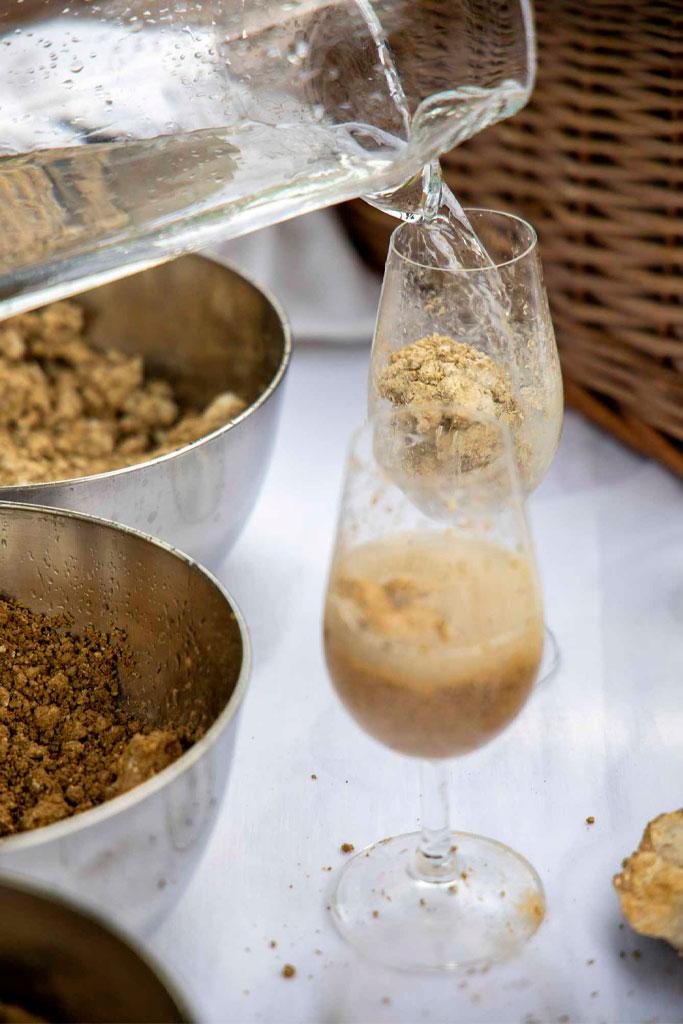 Verres de terre pendant l'identité terroir du Champagne Benoît Cocteaux - Agence Discovery Reims
